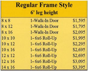Mini storage regular style prices